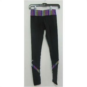 LULULEMON Black Leggings with Colorful Waist